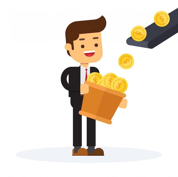 Homme d'affaires se tient devant la machine de production d'argent