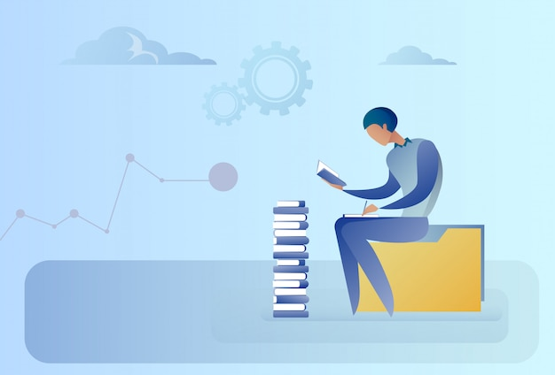 Homme affaires, séance, livres, pile, lecture, concept éducation