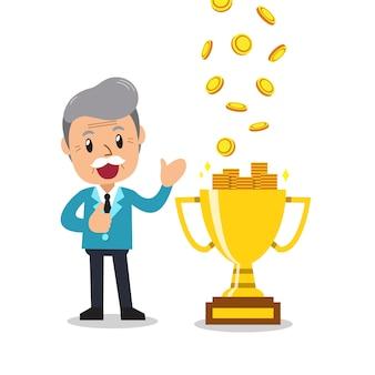 Homme d'affaires senior de dessin animé, gagner de l'argent avec le trophée