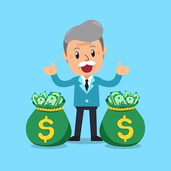 Homme d'affaires senior de dessin animé vector avec des sacs d'argent