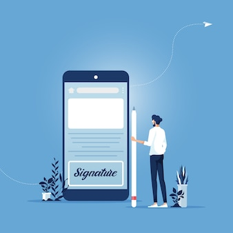 Homme d'affaires signant sur l'écran du smartphone