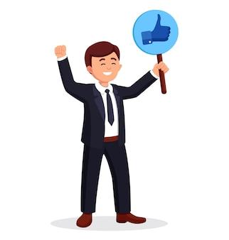 Homme d'affaires avec signe de pouce en l'air. des médias sociaux. bonne opinion. témoignages, commentaires, concept d'avis client