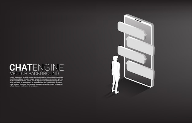 Homme d'affaires de silhouette debout avec discours de bulle sur téléphone mobile. chat bot moteur et communication.