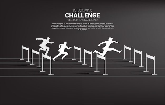Homme d'affaires de silhouette sautant à travers les obstacles course d'obstacles. concept d'arrière-plan pour la concurrence et le défi en affaires