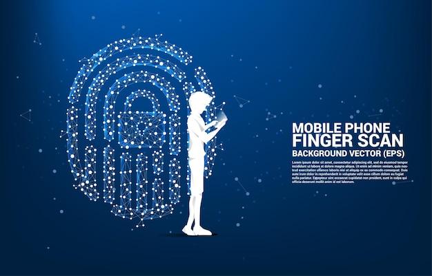 Homme d'affaires de silhouette avec un téléphone portable debout avec l'icône d'empreinte du polygone de ligne de connexion à points. concept d'arrière-plan pour la technologie de numérisation des doigts et l'accès à la confidentialité.