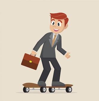 Homme affaires, sur, skateboard