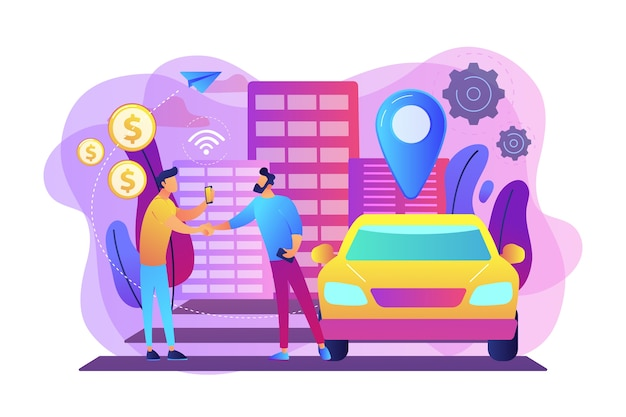 Homme d'affaires avec smartphone loue une voiture dans la rue via un service d'autopartage. service d'autopartage, location courte durée, meilleur concept alternatif de taxi. illustration isolée violette vibrante lumineuse