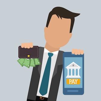 Homme d'affaires smartphone portefeuille paye numérique