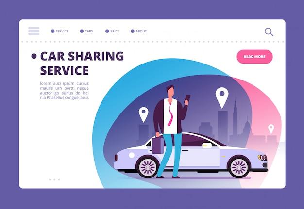Homme d'affaires avec smartphone en voiture sur la page de destination de la rue de la ville