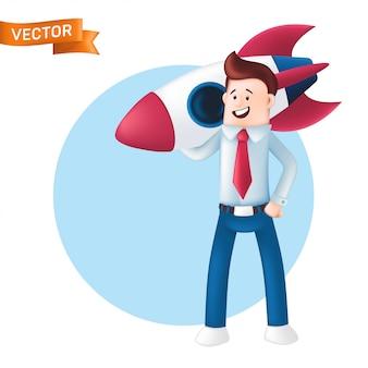 Homme d'affaires souriant vêtu d'une chemise bleue avec une cravate tient la fusée sur son épaule. caractère d'un chef de bureau heureux ou chef d'équipe avec une navette spatiale isolé sur fond blanc