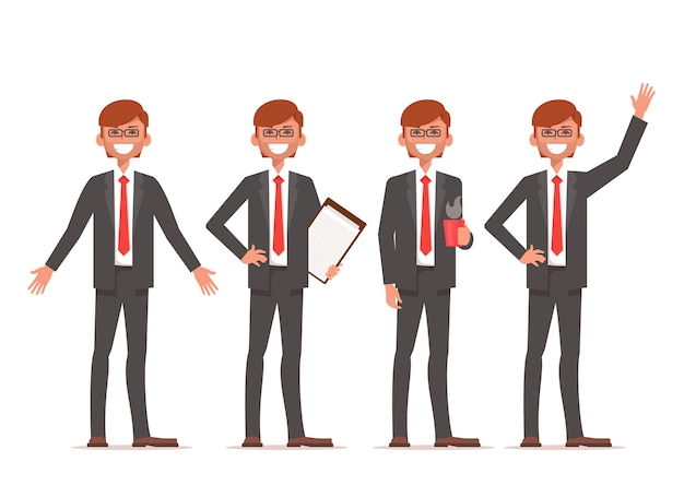 Homme affaires, stand, différent, positions
