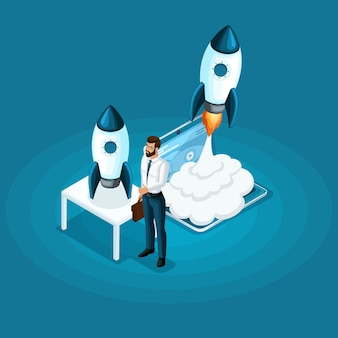Homme affaires, stands, ico, démarrage, projet, fusée, lancement, ciel, concept, développement, affaires