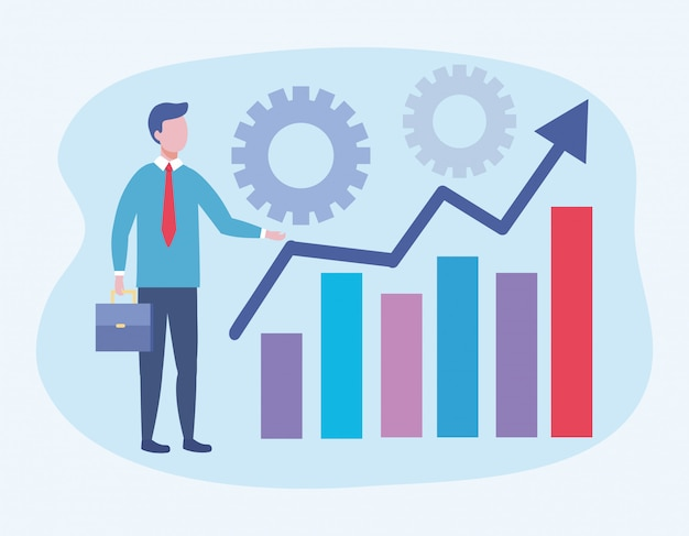 Homme d'affaires avec statistiques bar informations et engrenages