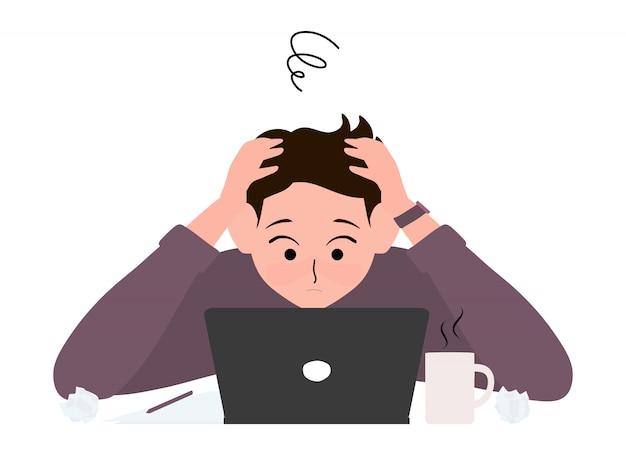 Homme d'affaires stressant travaillant au bureau illustration fatiguée et ennuyée