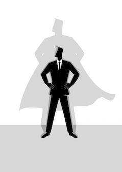 Homme affaires, à, super héros, ombre