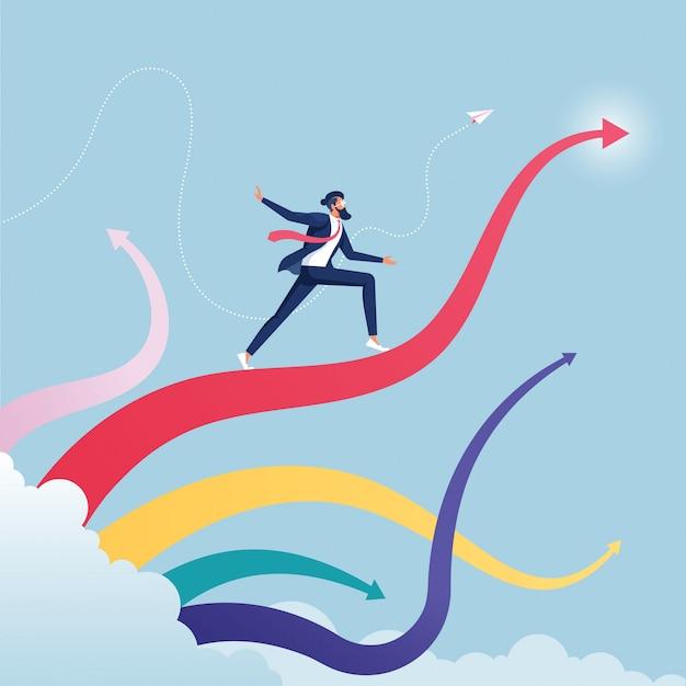Homme d'affaires, surfant sur le concept de croissance des vagues-business arrow