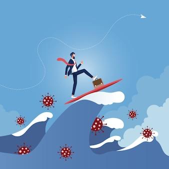 Homme d'affaires surfant sur la vague surmonter la crise du virus corona