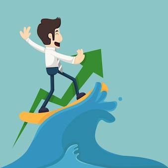 Homme d'affaires surfant sur la vague