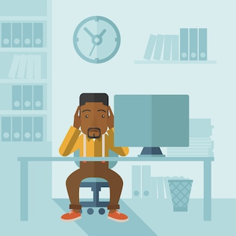 Homme d'affaires surmené est stressé.
