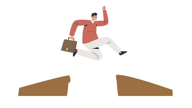 Homme d'affaires surmontant les obstacles