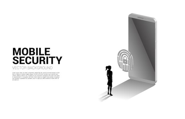 Homme d'affaires tactile empreinte sur l'icône de numérisation de doigt 3d avec téléphone mobile. concept de fond pour la technologie de sécurité et de confidentialité sur le réseau