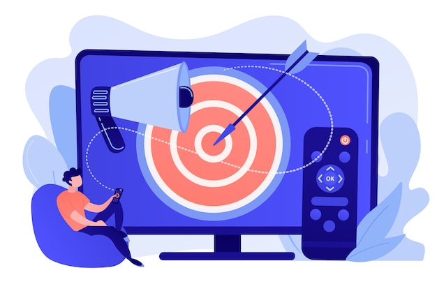 Homme d'affaires avec télécommande, regarder des publicités télévisées ciblées. publicité télévisée adressable, nouvelle technologie publicitaire, ciblant le concept de marketing tv