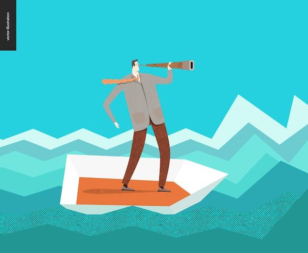 Homme d'affaires avec un télescope en bateau