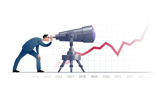 Homme D'affaires Avec Télescope Explorant L'avenir Vecteur Premium