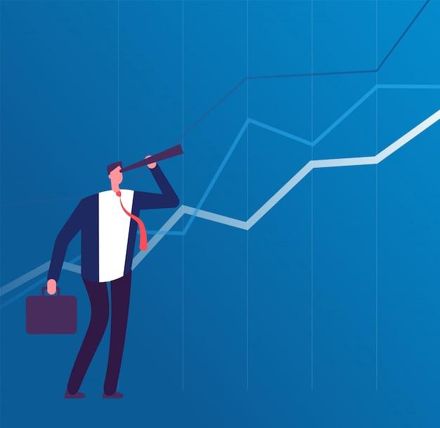 Homme affaires, télescope, regarder, futur, succès