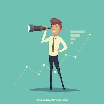 Homme d'affaires avec télescope