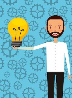 Homme d'affaires tenant ampoule idée innovation roues dentées
