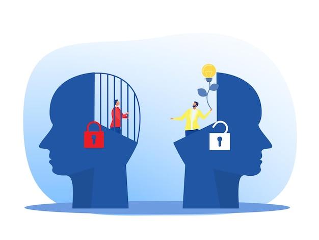 Homme d'affaires tenant une ampoule pour mettre pense croissance mentalité différente mentalité fixe concept vecteur