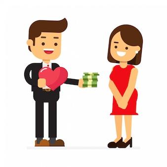 Homme d'affaires tenant beaucoup de dollars et de coeur