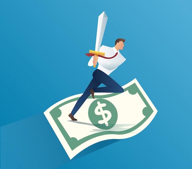 Homme d'affaires tenant l'épée sur les factures d'argent