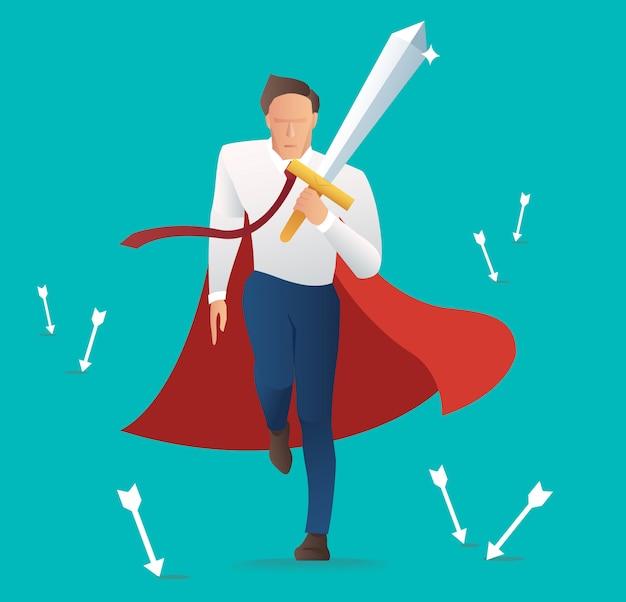 Homme d'affaires tenant l'épée avec la flèche qui tombe