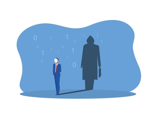 Homme d'affaires tenant un masque avec une ombre de voleur en illustrateur de concept de studio.