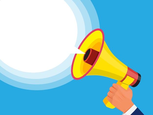 Homme d'affaires tenant le mégaphone à la main. modèle publicitaire avec une image du haut-parleur sonore. promotion ou communication avec mégaphone et haut-parleur. illustration vectorielle
