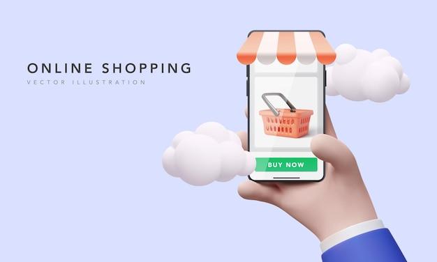 Un homme d'affaires tenant un téléphone à la main effectue des achats dans une boutique en ligne. illustration vectorielle