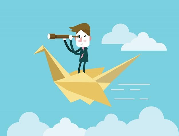 Homme d'affaires tenant le télescope et roulant sur un oiseau origami. élément de conception plat. illustration vectorielle