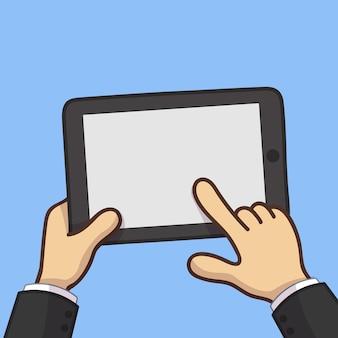 Homme d'affaires tenir la tablette et pointant
