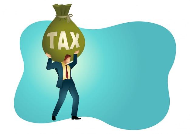 Homme affaires, tenue, grand, argent, sac, mot, impôt