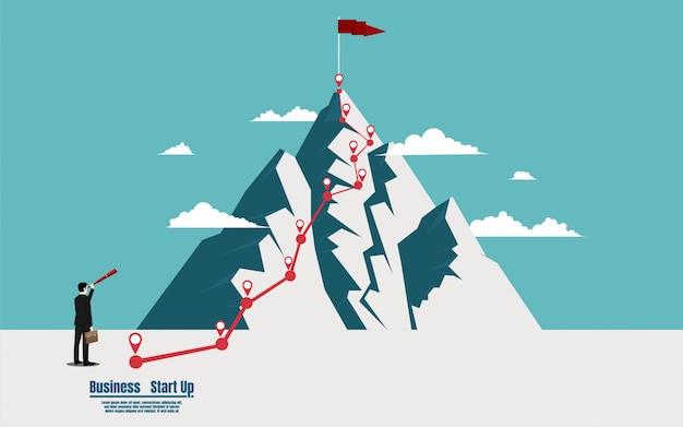 Homme affaires, tenue, télescope, regarder drapeau, sommet, montagne