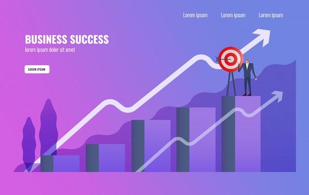 Homme d'affaires terminer la mission d'affaires en haut du graphique.