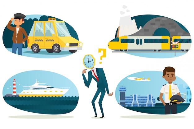 Homme d'affaires tête de montre choisir un moyen plus rapide de voyager, illustration. taxi voyage d'affaires avec chauffeur, train moderne à grande vitesse