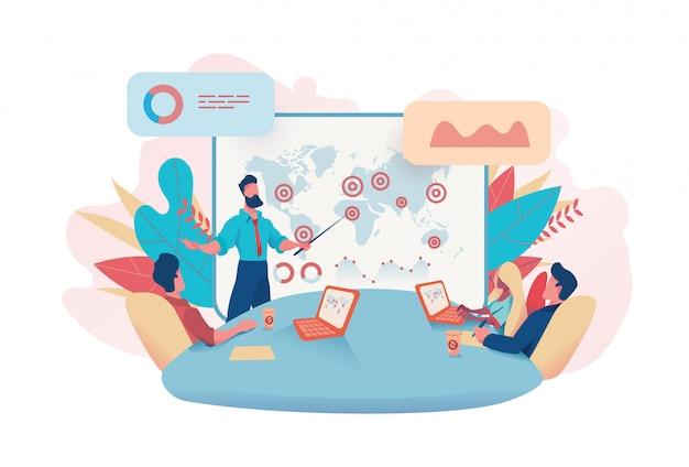 Homme affaires, tient, réunion, ventes, analytique, table