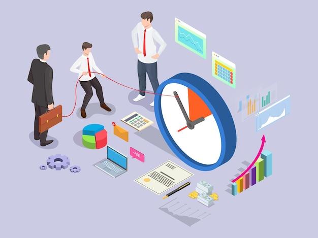 Homme d'affaires tournant horloge flèche retour plat vector illustration isométrique projet d'entreprise date limite ti...