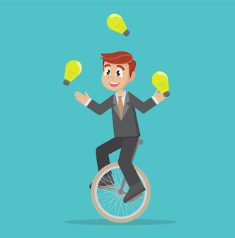 Homme d'affaires en train de jongler avec une ampoule en faisant du vélo.