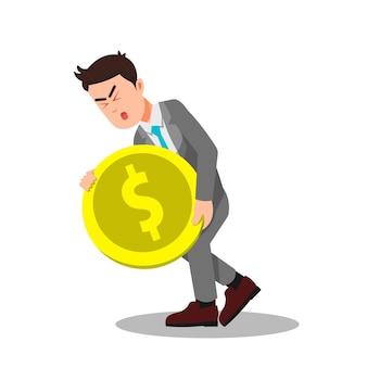 Homme d'affaires transportant de grandes et lourdes pièces de monnaie
