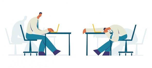 Homme affaires, travail, bureau, caractère