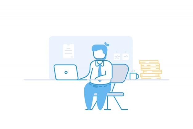 Homme d'affaires travail sur ordinateur portable